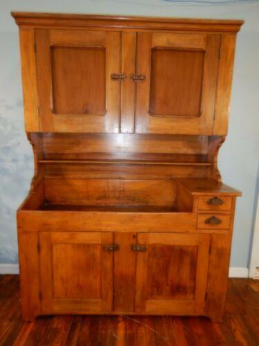 Antique Primitive Dry Sink Hutch Kitchen Cupboard