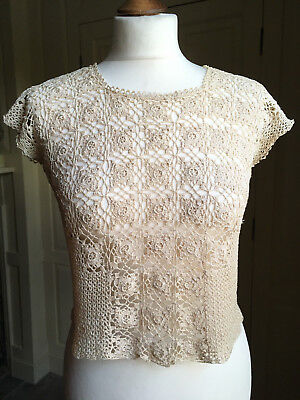 Antique unique handmade lace crochet top in old cream approx UK12
