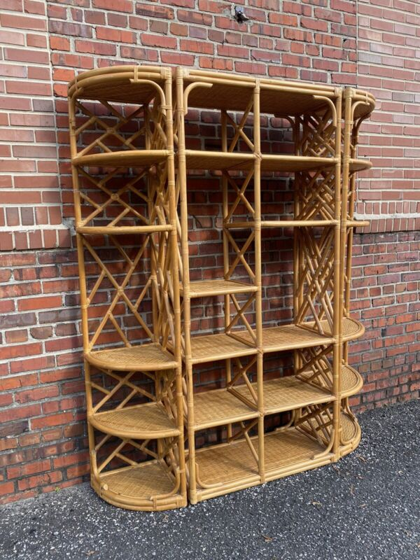 Vintage Mid Century Modern Bamboo Rattan Bookcase Shelves Etagere Chippendale