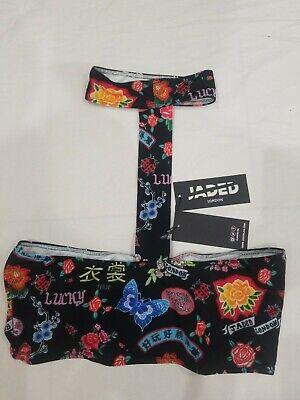 Jaded London Tokyo Choker Lucky Good Fortune Print Bandeau Bikini Top BNWT UK 14