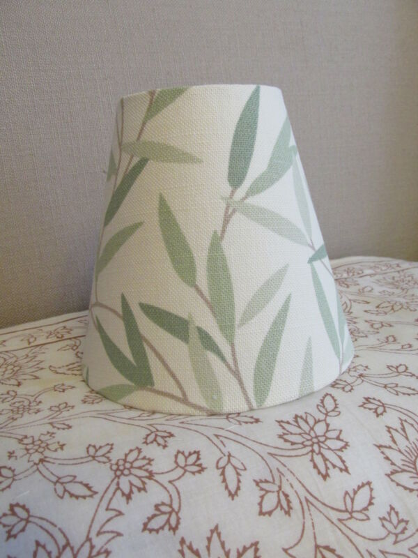 Handmade+Candle+Clip+Lampshade+Laura+Ashley+Willow+Leaf+Hedgerow+Green+fabric