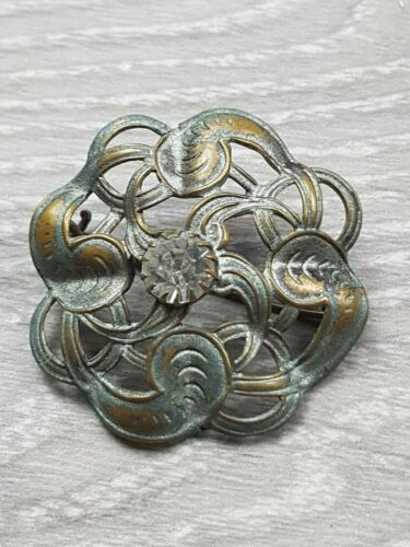 Art Nouveau Brooch silver plated with Rhinestone with Swirl Design