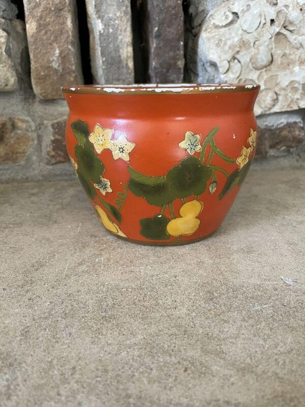 Vintage Chinese Orange Floral Fishbowl Planter