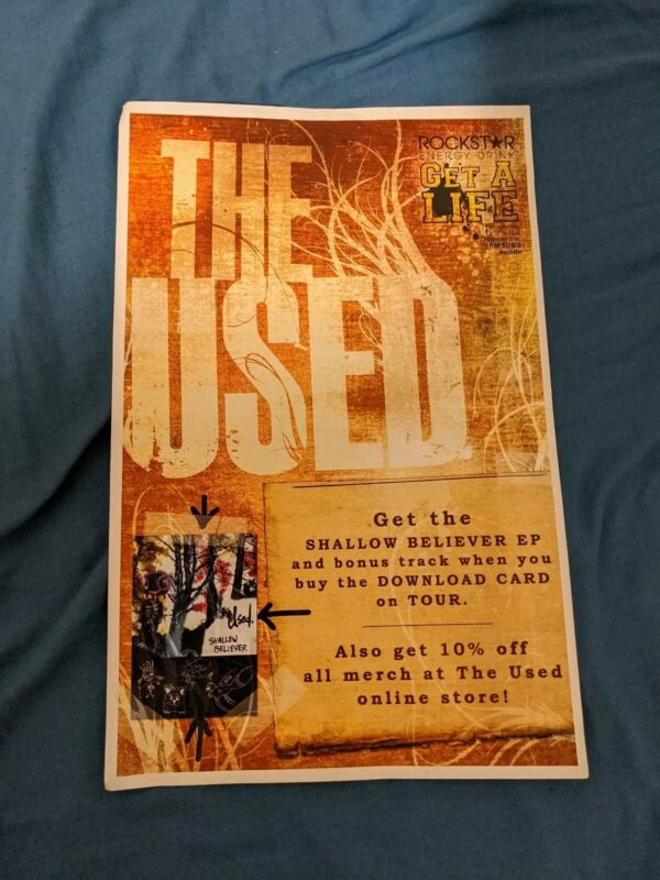 THE USED Shallow Believer promo poster rockstar tour concert gig