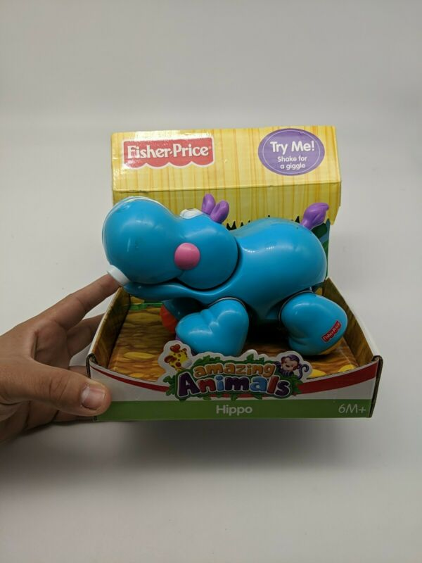 Fisher-Price Amazing Animals Hippo 6m+ Shake & Giggle Toddler Toy Blue Rattle]