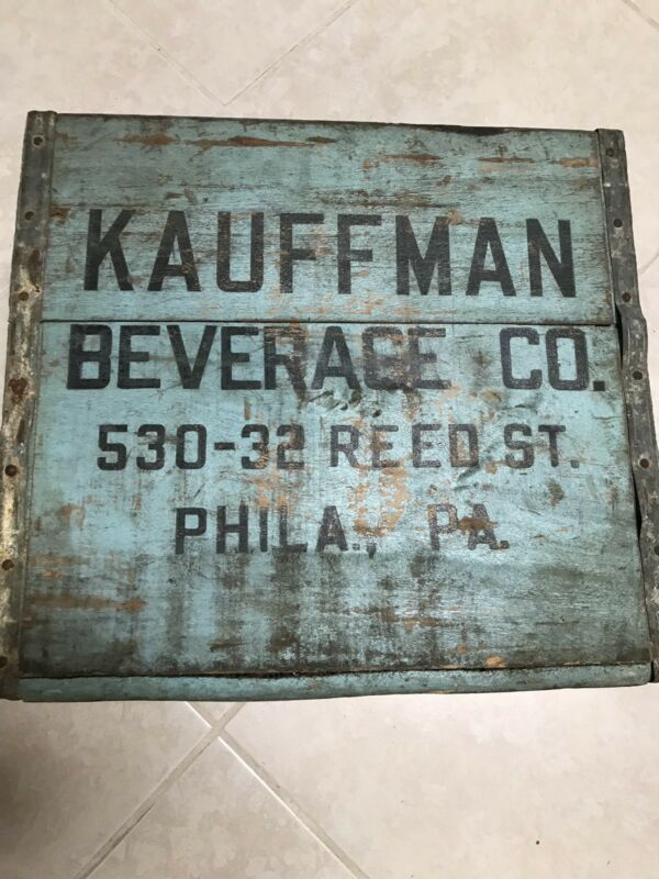 Rare & Vintage Seltzer Soda Bottle Wood Carrying Crate, KAUFFMAN BEVERAGE CO