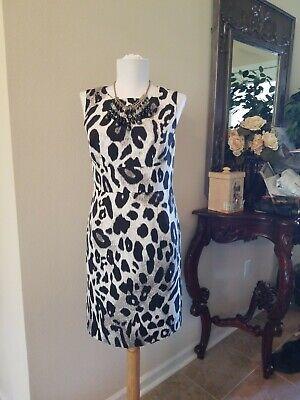 Sz0 ANN TAYLOR Animal Print Cheetah Black /Ivory Form Fitting Sexy Dress ~EUC