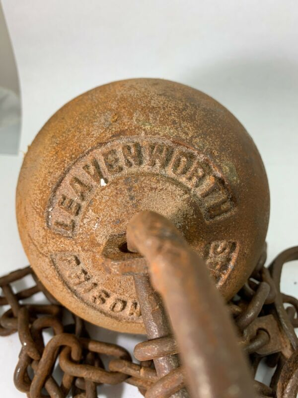 Leavenworth Kansas Prison Ball & Chain Rusty Antique Style Cast Iron Prisoners