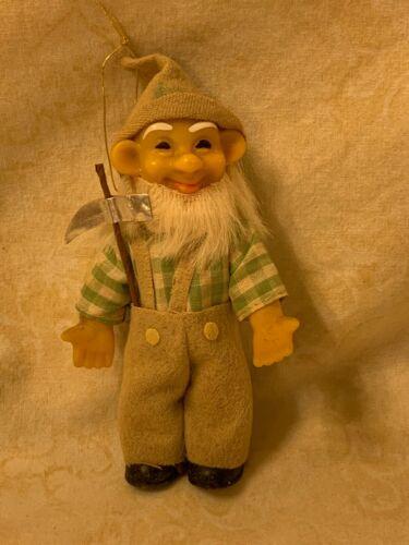 """Vintage Elf Pixie Ornament Felt Clothes Plastic Face Body Japan 5"""""""