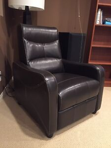 Dark brown leather recliner