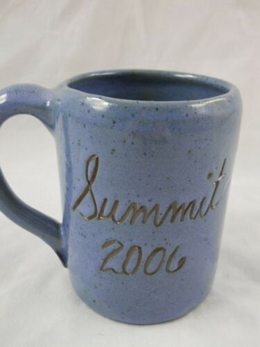 Bybee Pottery Tall Blue Mug Summit 2006 Kentucky Handcrafted Collectible 4-1/2""