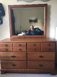 Solid maple dresser with mirror and nightstand