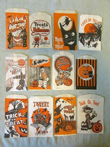 12 Halloween Paper Trick or Treat Candy Snack Bags Vtg lot Ghost JOL Cowboy Cats