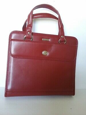 Franklin Covey Quest Binder Red Leather Classic Planner Organizer Zipper