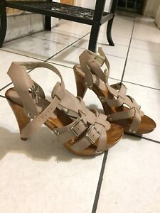 Beige & wood silver strap buckled heels