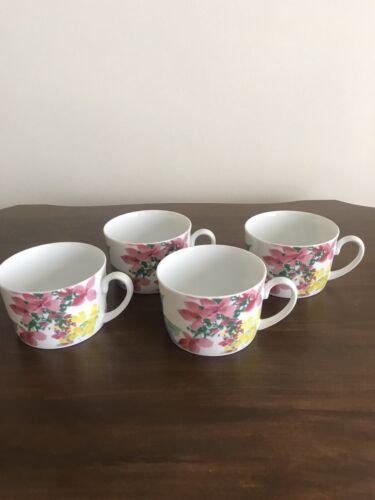 4 SAVOIR VIVRE MEADOW SPLENDOR PURPLE YELLOW PINK FLOWERS COFFEE CUPS FINE CHINA - $12.99