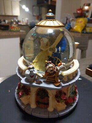 Disney Beauty And The Beast Music Box Snow Globe Retired Rose Garden Belle