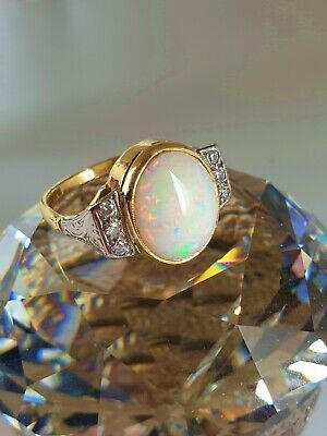 Quality 18ct Gold Opal Diamond Ring Size O. Large 12 x 10mm Opal. NICE1
