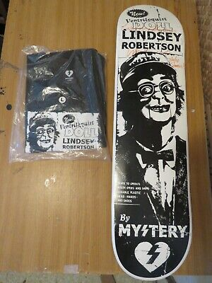 Signed 2005 Mystery skateboard deck Lindsey Robertson new + t shirt   7. 75 x 31