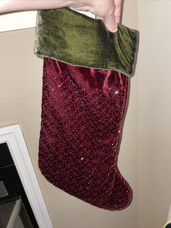 """Pottery Barn Beaded & Sequins Christmas Stocking Red & Green Velvet 19.5"""""""