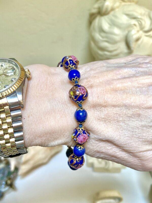 Lovely Antique/Vintage Dark Blue Italian Wedding Cake Art Glass Bead Bracelet