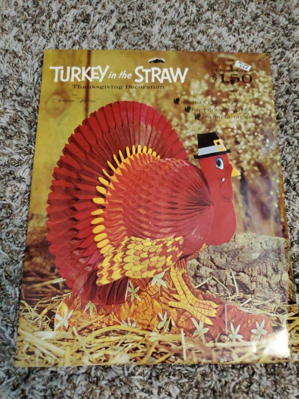 Vintage Turkey Thanksgiving American Greetings Honeycomb Centerpiece Decoration