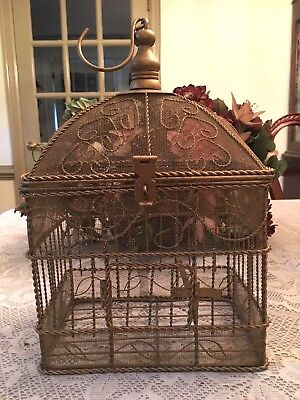 Rare Vintage Metal and Mesh Bird Cage Delicate Metal Swirl Design