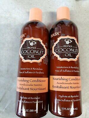 2 X HASK Monoi Coconut Oil Nourishing Conditioner Sulfate Free 12 fl oz.USA SHIP