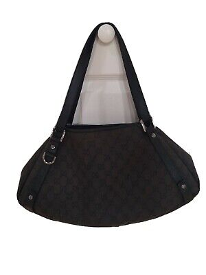 Authentic GUCCI Abbey Black GG Canvas Leather Medium Shoulder Hobo Bag