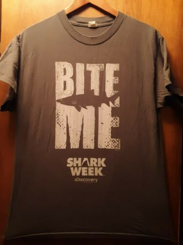 Shark Week- Bite Me Lic OOP Grey T-Shirt- Medium