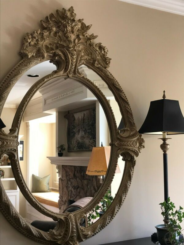 ornate large wall mirror - beige excellent condition