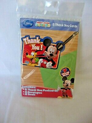 Mickey Mouse Thank You Cards (Disney Mickey Mouse Clubhouse 8 Thank You Post Cards W/Envelopes & Seals)