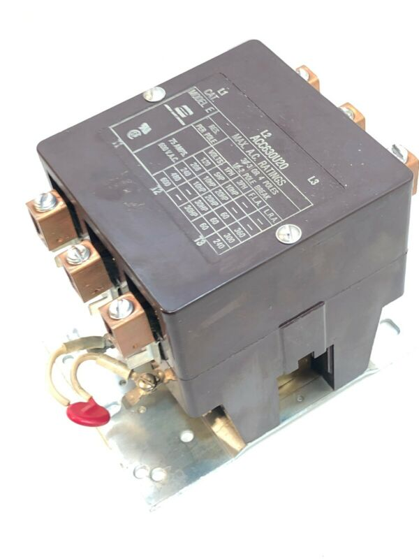 ARROW HART ACC630U20  Model E Contactor 3 Pole, 600V, 30HP, 75A  NOS