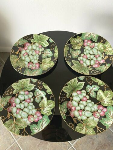 Fitz and Floyd BORDEAUX NOIR Grapes Set of FOUR NEW Plates Must SEE RARE