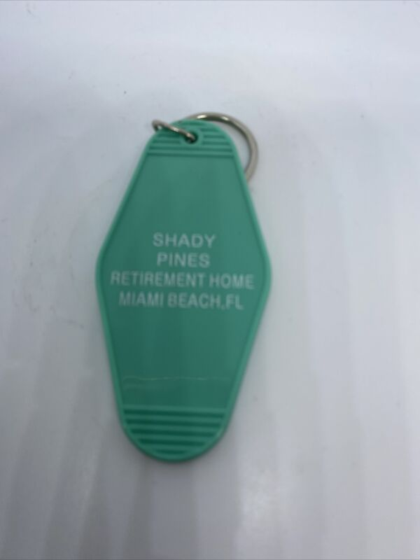 Funny Turquoise  Keychain, Golden Girls  SHADY PINES RETIREMENT HOME MIAMI, FL