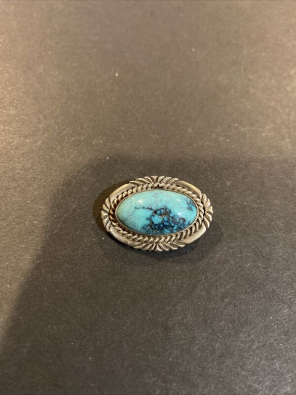 Vintage Navajo Turquoise & Sterling Silver Brooch Pin Signed GB