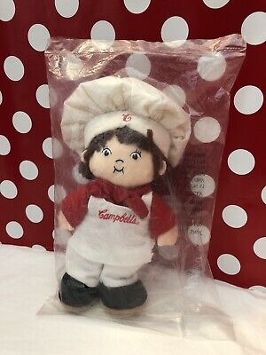 VINTAGE New NIP COLLECTIBLE CAMPBELL'S SOUP KIDS PLUSHis DOLL HAT APRON 8""