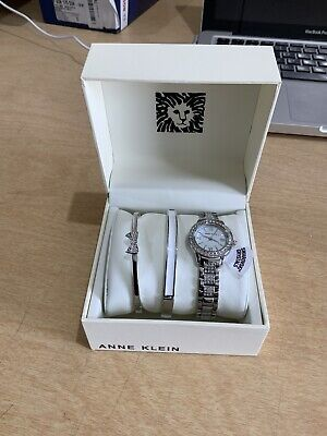 Anne Klein Women's Swarovski Crystal Watch/Bracelet Set (D3)