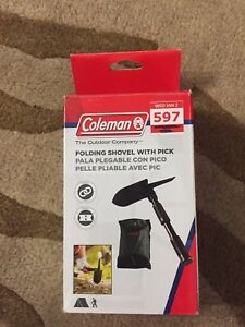 Coleman camping folding shovel with pick brand new