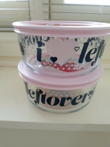 """Pyrex 4 Cup Glass Storage Containers ~ """"I ♡ LEFTOVERS"""" ~ s"""