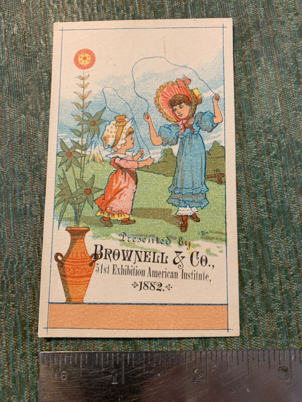 Vintage 1880's Victorian Ad Trade Card Brownell & Co New York Decorative Faience