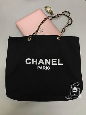 CHANEL VIP Gift Canvas Tote Bag Silver/Gold Hardware SHW/GHW
