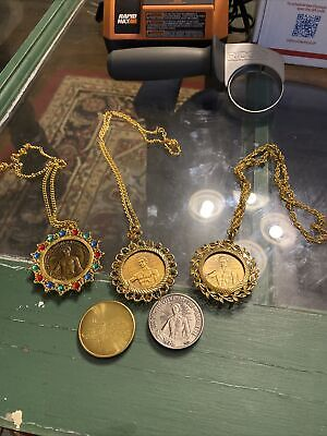 Mardi Gras Doubloon Necklace Lot of 3 and 2 single doubloons All Heavy Doubloo
