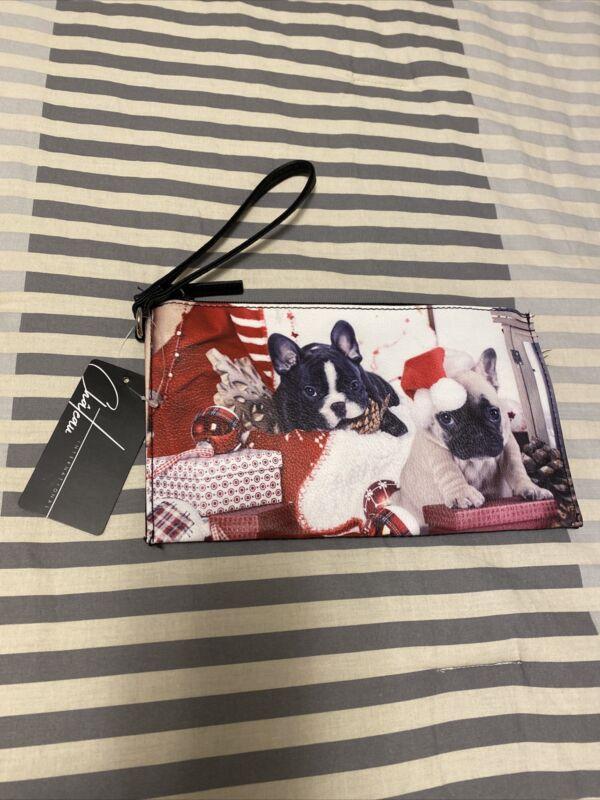Chateau International Christmas French Bulldog Wristlet Wallet Pouch New