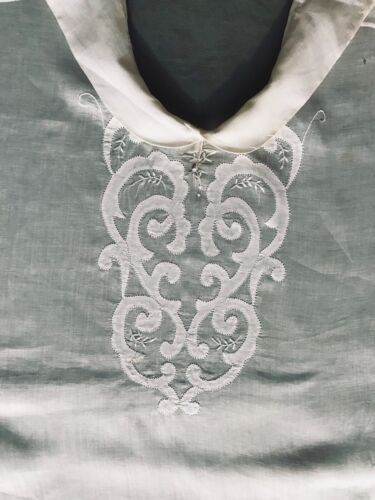Early Vintage Made in France Batiste Joke, Dress Front Applique Work Embroidery