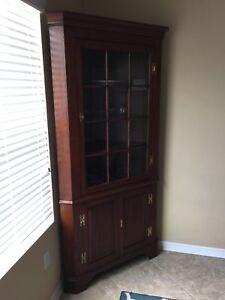 Henkel Harris Solid Cherry Lighted Corner Cabinet, 12 panes
