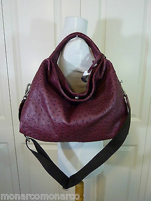 NWT Furla Burgundy Red Wine Ostrich Embossed Leather S/M Elisabeth Tote Bag $598 for sale  Tualatin