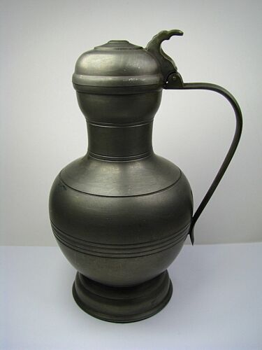 DUTCH SOLID PEWTER FLAGON PITCHER PITCHER VESSEL by Metawa Holland Netherlands