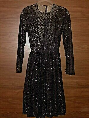Black Lace Dress with Silver Sparkle - Small