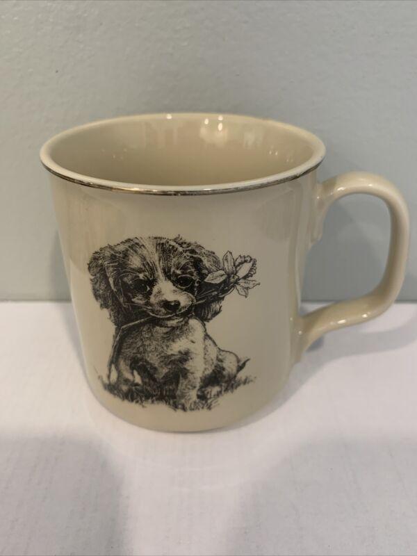 Small World Greetings Vintage Spaniel Dog with Flower ceramic Mug Cup Japan EUC